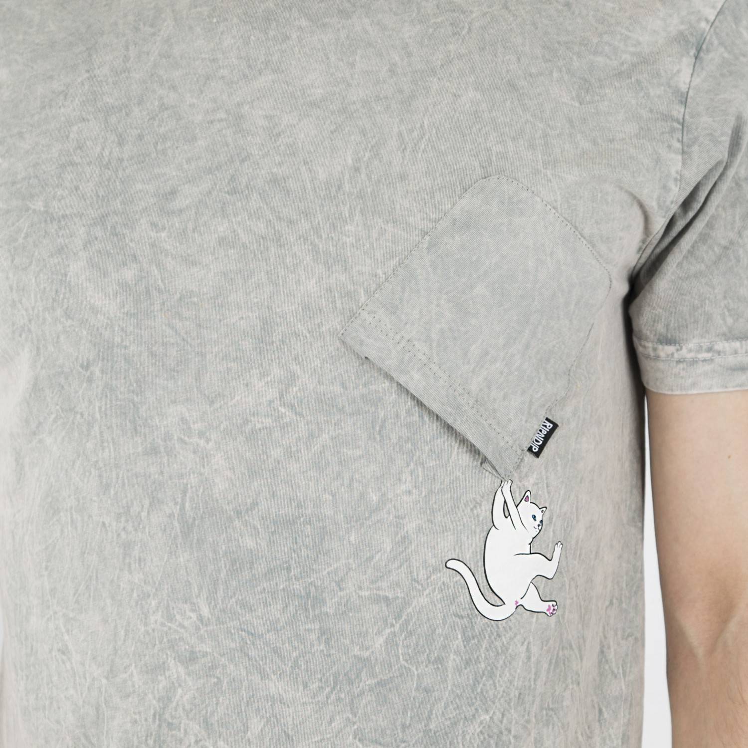 Футболка RIPNDIP - Hang In There Grey Mineral Wash